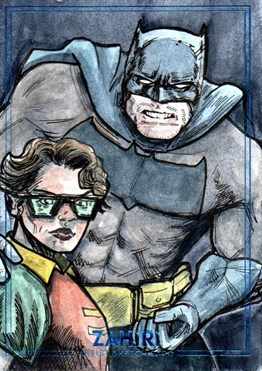Dark Knight Returns Batman and Carrie Kelly Robin : Zahiri Sketch Card art by Yiğit Yerlikaya